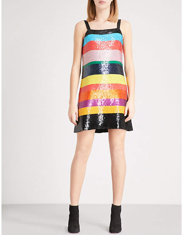 Alice + Olivia Alice & Olivia Bridget striped sequin dress