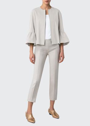 Akris Punto Zip-Front Bell-Sleeve Gabardine Cotton Jacket