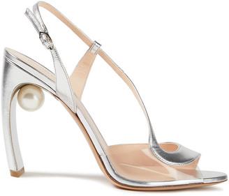 Nicholas Kirkwood Maeva Faux Pearl-embellished Metallic Leather And Pvc Sandals