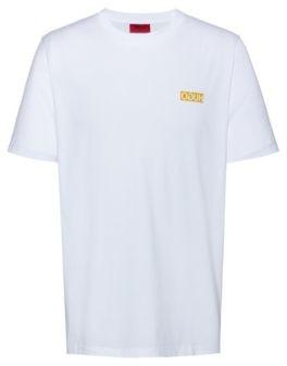 HUGO Regular-fit T-shirt with reversed-logo print