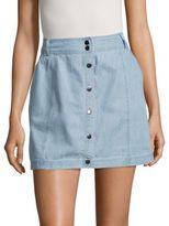 BB Dakota Chambray Button-Front Mini Skirt? ?