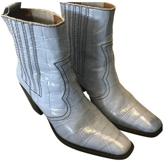 Ganni Blue Leather Boots