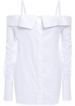 Victoria Victoria Beckham Cold-shoulder Pinstriped Cotton Shirt
