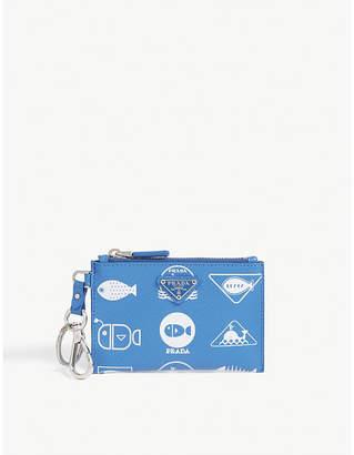 Prada Whale print leather zip purse