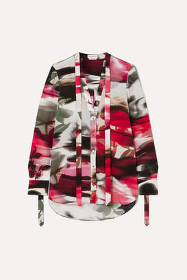 Alexander McQueen Pussy-bow Floral-print Silk Crepe De Chine Blouse - Red
