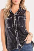Miss Me Charcoal-Lace & Velvet Detailed-Top