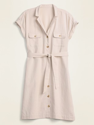Old Navy Linen-Blend Utility Tie-Belt Shirt Dress for Women