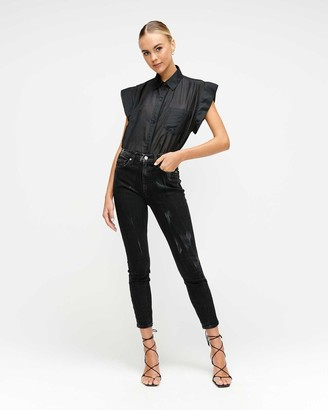 7 For All Mankind High Waist Ankle Skinny in Black Marble