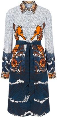 Burberry seahorse and Monogram print shirt dress