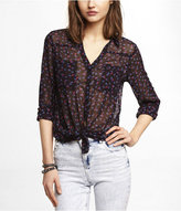 Express Rosebud And Parrot Print Portofino Shirt