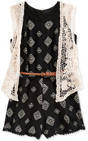 Beautees 2-Pc. Belted Romper & Embroidered Lace Vest Set, Big Girls (7-16)