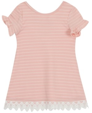 Rare Editions Toddler Girls Striped Lace-Trim Dress