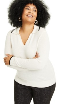 Charter Club Plus Size Cashmere Johanna-Collar Sweater, Created for Macy's
