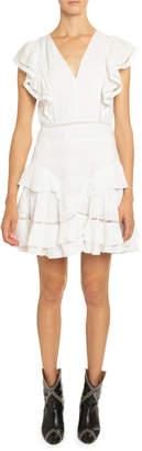 Etoile Isabel Marant Audrey Linen Ruffle-Tiered Dress