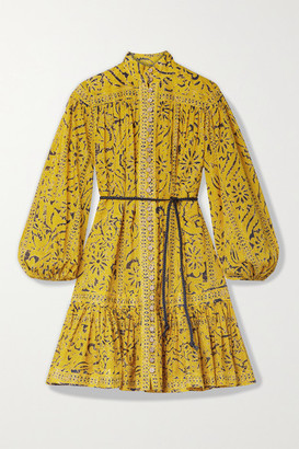 Zimmermann Lulu Belted Ruffled Printed Cotton Mini Dress - Yellow