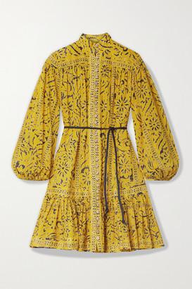 Zimmermann Lulu Belted Ruffled Printed Cotton Mini Dress - Yellow