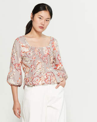 Angie Floral Smocked Blouse