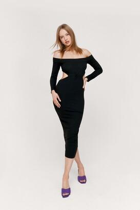 Nasty Gal Womens Off the Shoulder Twist Cut Out Midi Dress - Black