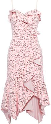Jonathan Simkhai Ruffled Wrap-effect Printed Stretch-crepe Midi Dress