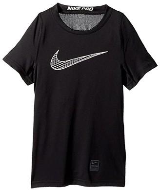 Nike Kids Pro Fitted Short Sleeve Training Top (Little Kids/Big Kids) (Black/Black/White/White) Boy's Clothing
