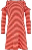 River Island Girls red stripe ribbed cold shoulder dress