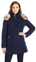 Nautica Women's Diamond Quilted Puffer Coat with Hood