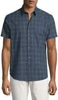 Theory Zack S. Balance Check Short-Sleeve Sport Shirt, Blue