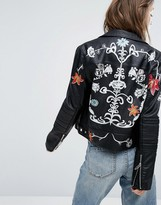 Blank NYC Leather Look Biker Jacket with Painted Flowers