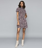 Reiss Natalie - Printed Mini Dress in Berry