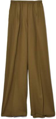 Forte Forte Wool Structured Wide Pants with Elastic in Khaki