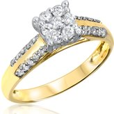 My Trio Rings 3/8 CT. T.W. Diamond Ladies Engagement Ring 10K Yellow Gold- Size 7.5