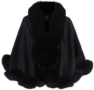 Harrods Cropped Fox Fur Trim Cape