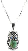 Yeidid International Women's Necklaces turquoise - Green Turquoise & Marcasite Owl Pendant Necklace