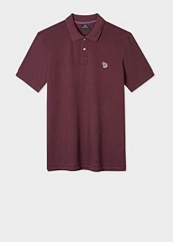 Men's Burgundy Organic Cotton-Pique Zebra Logo Polo Shirt