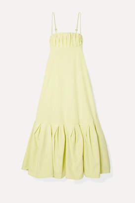 Rosie Assoulin Cami Gathered Cotton-poplin Midi Dress - Pastel yellow