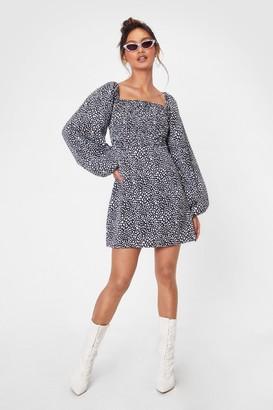 Nasty Gal Womens Puff Sleeve 'Em Spot on Your Heels Petite Dress - Black - 4