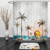 Vipsung Shower Curtain And Ground MatHawaiian Decorations Collection Watercolor Style Tropical Island with Coconut Trees and Birds Sunset Art Print Green BrownShower Curtain Set with Bath Mats Rugs