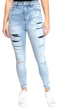 Almost Famous Crave Fame Juniors' High Rise Rip & Repair Skinny Jeans