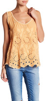 Johnny Was Eyelet Lace Trim Tank