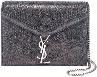 Saint Laurent Cassandra Small Python Flap-Top Crossbody Bag