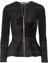 Roland Mouret Textured Jacquard-knit Peplum Jacket - Black