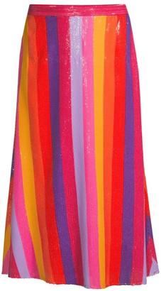 Olivia Rubin Penelope Rainbow Stripe Sequin Midi Skirt
