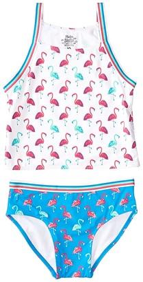 Hatley Fancy Flamingos Tankini Set (Toddler/Little Kids/Big Kids) (White) Girl's Swimwear Sets