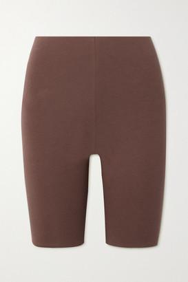 Skin Aphrodite Stretch Organic Pima Cotton-jersey Shorts - Brown