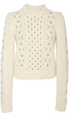 Michael Kors Embellished Cable-Knit Cashmere Sweater