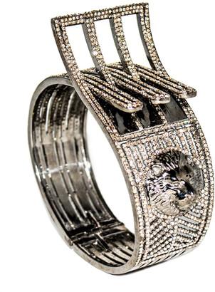 Arthur Marder Fine Jewelry Silver 15.00 Ct. Tw. Diamond Lion Head Bangle