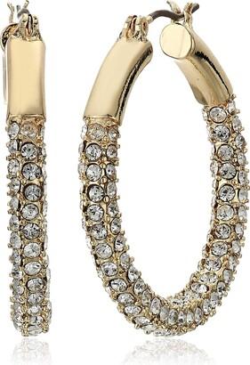 Anne Klein Women's Pierced Earrings Pave Tubular Hoop