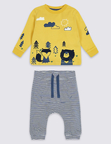Marks and Spencer 2 Piece Animal Jersey Top & Bottom Outfit