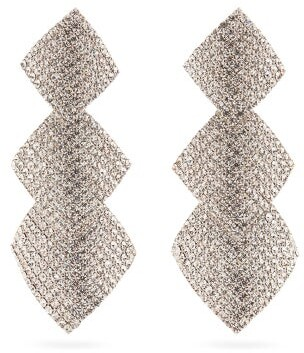 Alessandra Rich Crystal-embellished Square-drop Clip Earrings - Crystal