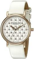 Stuhrling Original Women's Quartz Watch with Silver Dial Analogue Display and White Leather Strap 799.04